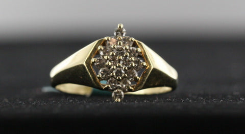 Diamond Pyramid Ring14kt Yellow Gold