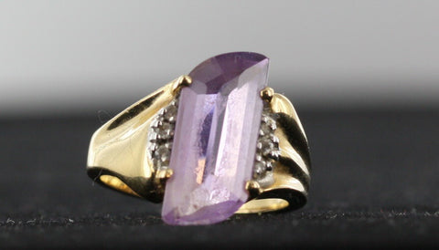 Amethyst ring Diamond Accents 14kt Yellow Gold