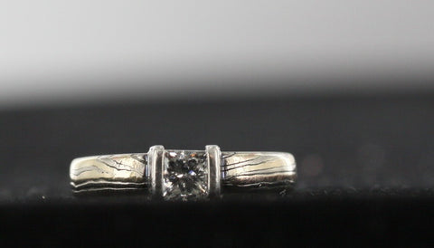 Diamond Ring 14kt Yellow Gold With Silver Overlay