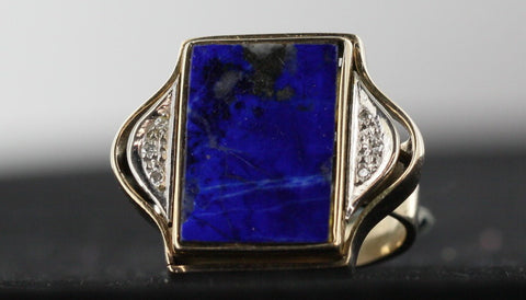 Lapis Lazuli & 18kt Gold Ring With Tiny Diamond Accents