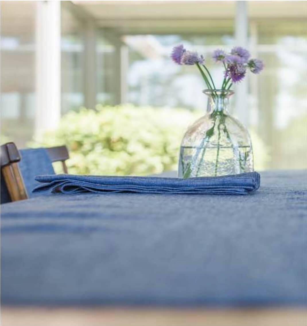 Blue linen tablecloth with flowers