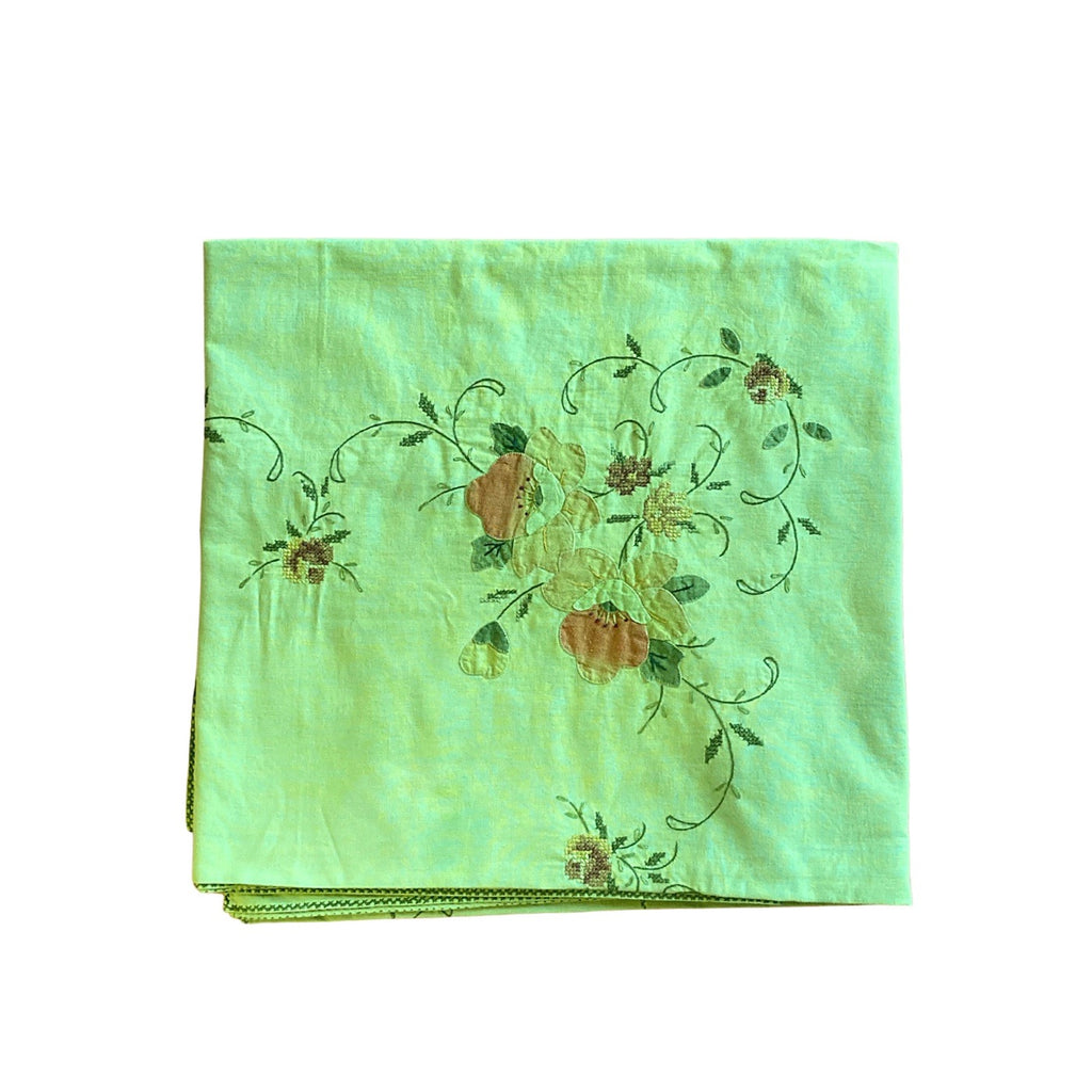 Stitched Vintage Table Cloth, Hand-Dyed