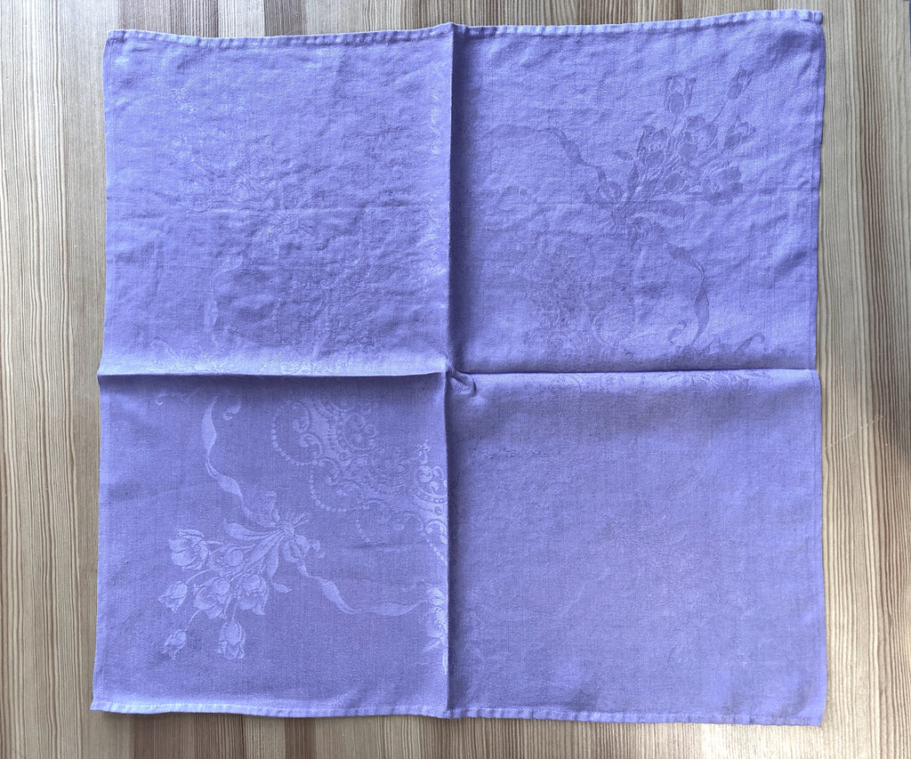 Lavender Vintage Napkin, Hand-Dyed, Set of 8