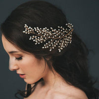 Adrianna Headpiece - Delicate Floral Hair Vine in Golden/ Silver-Decorative Headpiece Hair Jewellery Bridal Wedding Party Hairstyle Accessory-Golden-HC2114G-The Style Diva - India