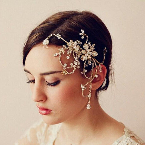 Amelia Hair Comb - Delicate Crystal Floral Golden Hair Vine Headpiece-Hair Jewellery Decorative Comb Bridal Wedding Party Hairstyle Accessory-HC2001-The Style Diva - India