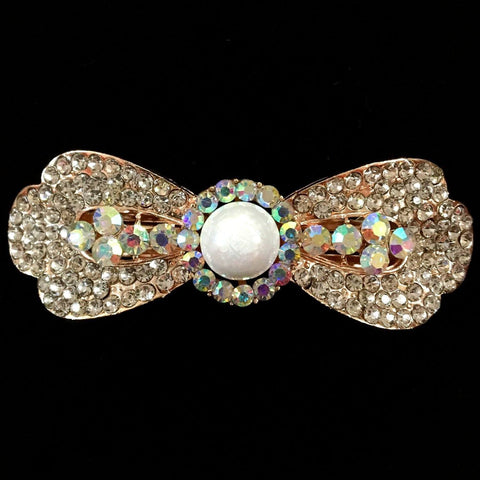 Aster Hair Clip - Beautiful Rhinestone & Artificial Pearl Barrette Clip-Decorative Barrette Clip Hair Jewellery Bridal Wedding Party Hairstyle Accessory-BC25-The Style Diva - India
