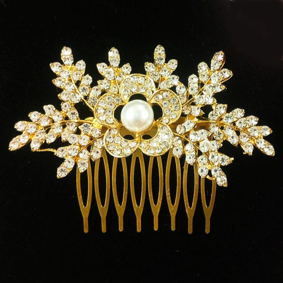 Audrey Hair Comb - Delicate Floral Golden/Silver Headpiece-Hair Jewellery Decorative Comb Bridal Wedding Party Hairstyle Accessory-Golden-HC2122-The Style Diva - India