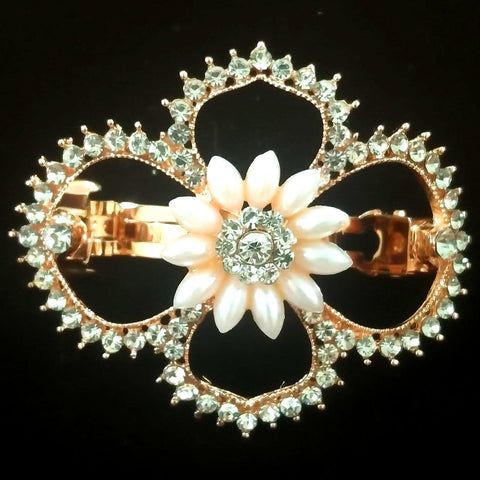 Balsam Hair Clip - Beautiful Rhinestone & Artificial Pearl Barrette Clip-Decorative Barrette Clip Hair Jewellery Bridal Wedding Party Hairstyle Accessory-BC19-The Style Diva - India