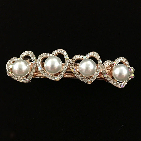 Begonia Hair Clip - Beautiful Rhinestone & Artificial Pearl Barrette Clip-Decorative Barrette Clip Hair Jewellery Bridal Wedding Party Hairstyle Accessory-BC05-The Style Diva - India