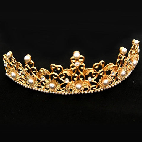Belle Tiara - Delicate Golden Headpiece-Tiara Hair Jewellery Bridal Wedding Party Decorative Hairstyle Accessory-HC11-The Style Diva - India