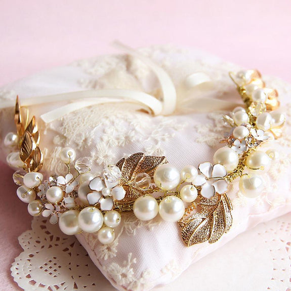 Blossom Headpiece - Pearl and Golden Leaves Hair Vine-Hair Jewellery Decorative Comb Bridal Wedding Party Hairstyle Accessory-HC1077-The Style Diva - India