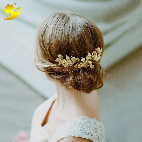 Camilla Hair comb - Delicate Floral Golden/White golden Hair Jewellery-Hair Jewellery Decorative Comb Bridal Wedding Party Hairstyle Accessory-HC2241-The Style Diva - India