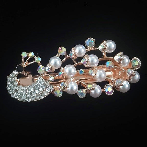Carnation Hair Clip - Beautiful Rhinestone & Artificial Pearl Barrette Clip-Decorative Barrette Clip Hair Jewellery Bridal Wedding Party Hairstyle Accessory-BC01-The Style Diva - India