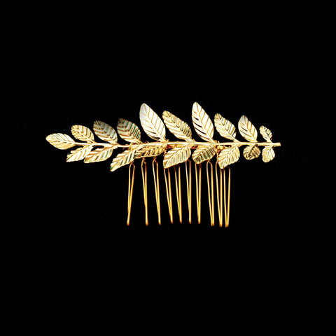 Caterina Hair Comb - Gold Leaf Vintage Style Elegant Headpiece-Hair Jewellery Decorative Comb Bridal Wedding Party Hairstyle Accessory-HC23-The Style Diva - India