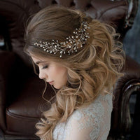 Catherine Headpiece - Delicate Crystal Floral Golden Hair Vines-Decorative Headpiece Hair Jewellery Bridal Wedding Party Hairstyle Accessory-HC1038-The Style Diva - India