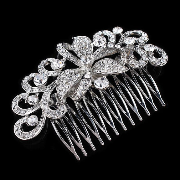 Cecelia Hair Comb - Delicate Crystal Floral Silver Headpiece-Hair Jewellery Decorative Comb Bridal Wedding Party Hairstyle Accessory-HC2069-The Style Diva - India