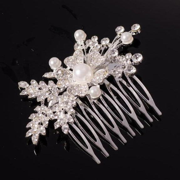 Celeste Hair Comb - Delicate Crystal Floral Headpiece - Silver/ Golden-Hair Jewellery Decorative Comb Bridal Wedding Party Hairstyle Accessory-Silver-HC2116-The Style Diva - India