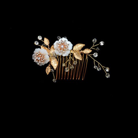 Charlene Hair Comb - Elegant Floral Headpiece made with Gold Plated Leaves & Crystals-Decorative Headpiece Hair Jewellery Bridal Wedding Party Hairstyle Accessory-HC20-The Style Diva - India