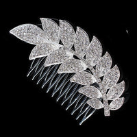 Charlotte Hair Comb - Delicate Crystal Floral Silver Headpiece-Hair Jewellery Decorative Comb Bridal Wedding Party Hairstyle Accessory-HC2070-The Style Diva - India