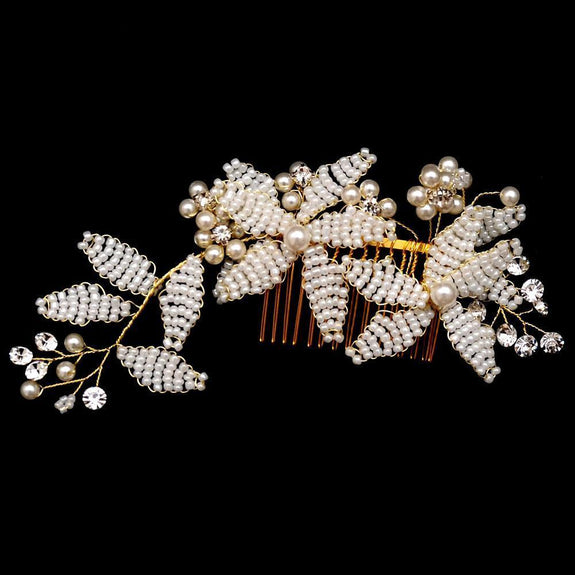 Cora Hair Comb - Delicate Floral Golden Hair Vine Headpiece-Hair Jewellery Decorative Comb Bridal Wedding Party Hairstyle Accessory-HC03-The Style Diva - India