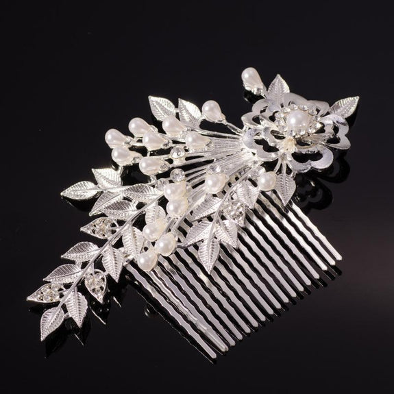 Corianne Hair Comb - Delicate Crystal Floral Silver Headpiece-Hair Jewellery Decorative Comb Bridal Wedding Party Hairstyle Accessory-HC2117-The Style Diva - India