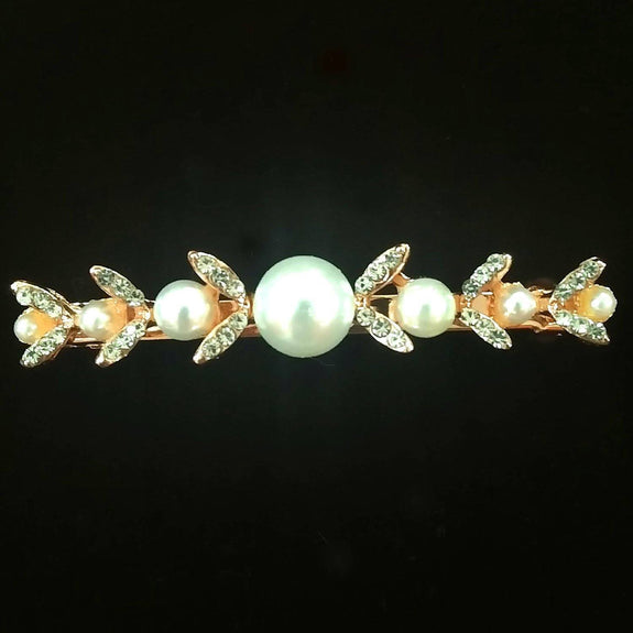 Cosmos Hair Clip - Beautiful Rhinestone & Artificial Pearl Barrette Clip-Decorative Barrette Clip Hair Jewellery Bridal Wedding Party Hairstyle Accessory-BC11-The Style Diva - India