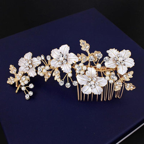 Cristina Headpiece - Delicate Floral Golden/White golden Hair Jewellery-Hair Jewellery Decorative Comb Bridal Wedding Party Hairstyle Accessory-HC2208-The Style Diva - India