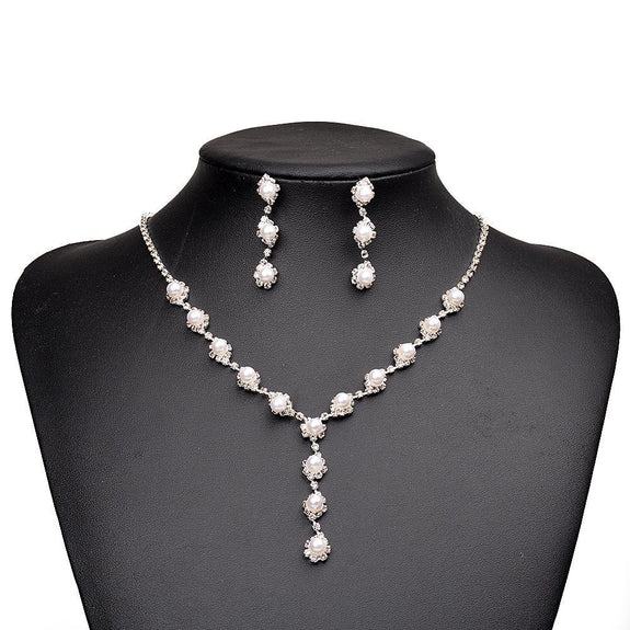 Crystal Rhinestone Faux Pearl Necklace Earrings-Imitation Fashion Jewellery Ornament Necklace Set-N891019-The Style Diva - India