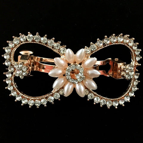 Daffodil Hair Clip - Beautiful Rhinestone & Artificial Pearl Barrette Clip-Decorative Barrette Clip Hair Jewellery Bridal Wedding Party Hairstyle Accessory-BC17-The Style Diva - India
