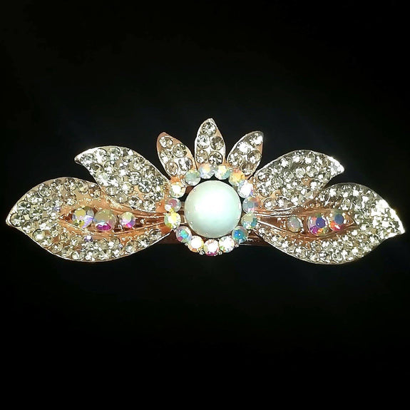 Dahlia Hair Clip - Beautiful Rhinestone & Artificial Pearl Barrette Clip-Decorative Barrette Clip Hair Jewellery Bridal Wedding Party Hairstyle Accessory-BC28-The Style Diva - India
