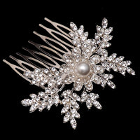 Dahlia Hair Comb - Delicate Crystal Floral Silver Headpiece-Hair Jewellery Decorative Comb Bridal Wedding Party Hairstyle Accessory-HC2120-The Style Diva - India