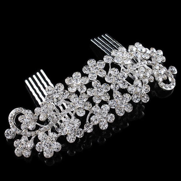 Delilah Hair Comb - Delicate Crystal Floral Silver Headpiece-Hair Jewellery Decorative Comb Bridal Wedding Party Hairstyle Accessory-HC2078-The Style Diva - India