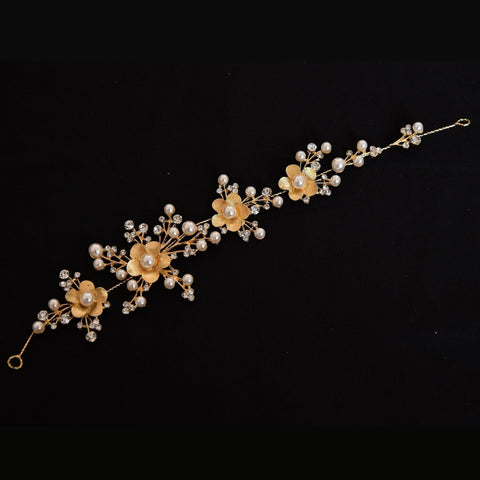 Dorothy Headpiece - Delicate Floral Golden Hair Vine-Decorative Headpiece Hair Jewellery Bridal Wedding Party Hairstyle Accessory-HC08-The Style Diva - India