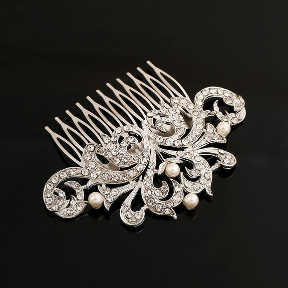 Eleanor Hair Comb - Delicate Crystal Floral Silver Headpiece-Hair Jewellery Decorative Comb Bridal Wedding Party Hairstyle Accessory-HC2099-The Style Diva - India