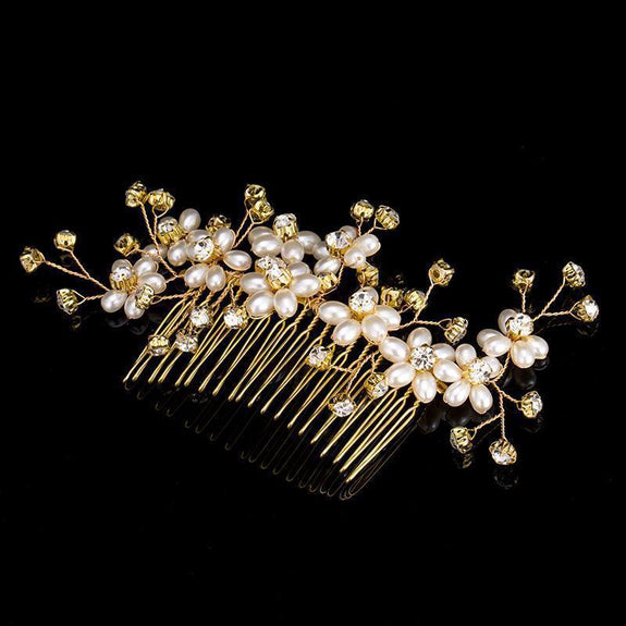 Elizabeth Hair Comb - Delicate Crystal Floral Golden Headpiece-Hair Jewellery Decorative Comb Bridal Wedding Party Hairstyle Accessory-HC2005-The Style Diva - India