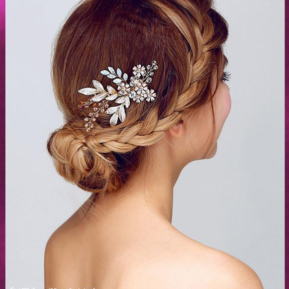 Elsa Hair comb - Delicate Floral Golden/White golden Hair Jewellery-Hair Jewellery Decorative Comb Bridal Wedding Party Hairstyle Accessory-HC1004-The Style Diva - India
