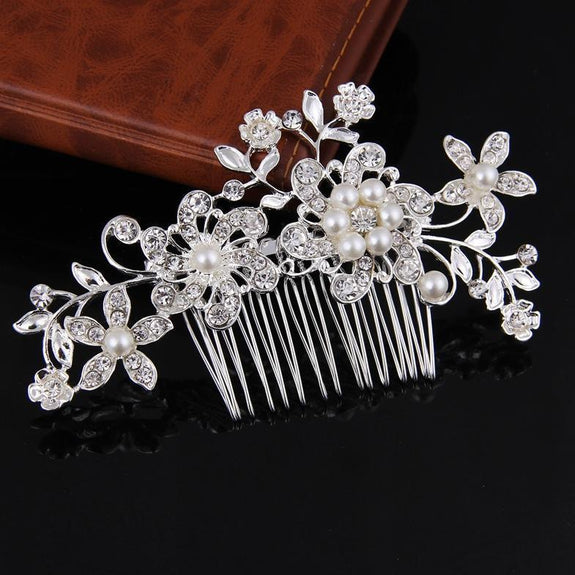 Eva Hair Comb - Delicate Crystal Floral Silver Headpiece-Hair Jewellery Decorative Comb Bridal Wedding Party Hairstyle Accessory-HC2009-The Style Diva - India