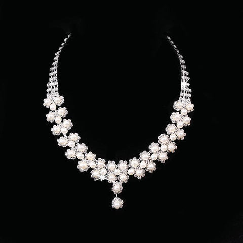 Eva Necklace Set - Rhinestone & Faux Pearl with Earrings-Imitation Fashion Jewellery Ornament Necklace Set-N891033-The Style Diva - India
