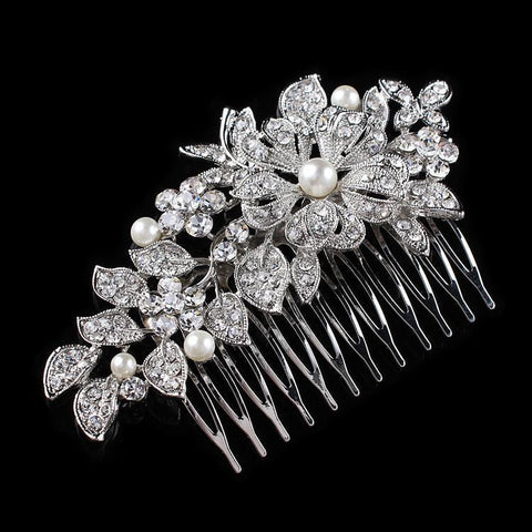 Evelyn Hair Comb - Delicate Crystal Floral Silver Headpiece-Hair Jewellery Decorative Comb Bridal Wedding Party Hairstyle Accessory-HC2062-The Style Diva - India
