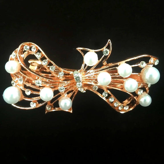 Flora Hair Clip - Beautiful Rhinestone & Artificial Pearl Barrette Clip-Decorative Barrette Clip Hair Jewellery Bridal Wedding Party Hairstyle Accessory-BC15-The Style Diva - India