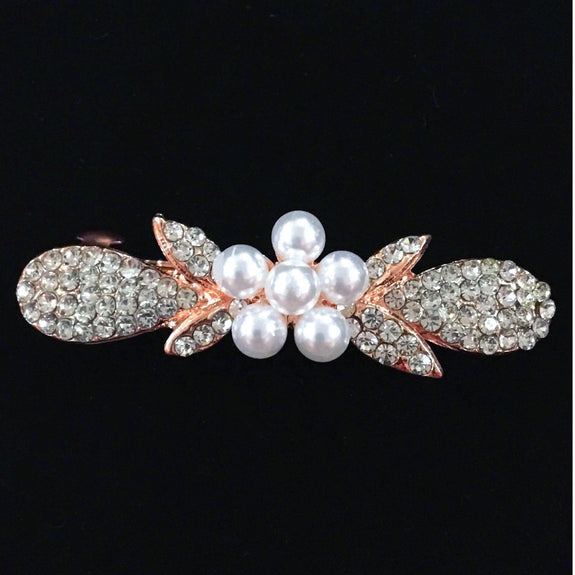 Floral Rhinestone & Artificial Pearl Hair Clip-Decorative Barrette Clip Hair Jewellery Bridal Wedding Party Hairstyle Accessory-BC02-The Style Diva - India