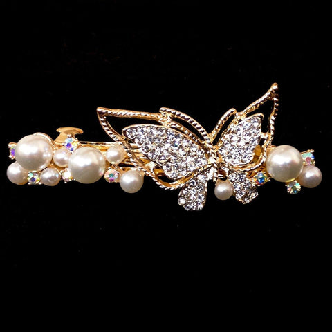 Freesia Hair Clip - Beautiful Rhinestone & Artificial Pearl Barrette Clip-Decorative Barrette Clip Hair Jewellery Bridal Wedding Party Hairstyle Accessory-BC26-The Style Diva - India