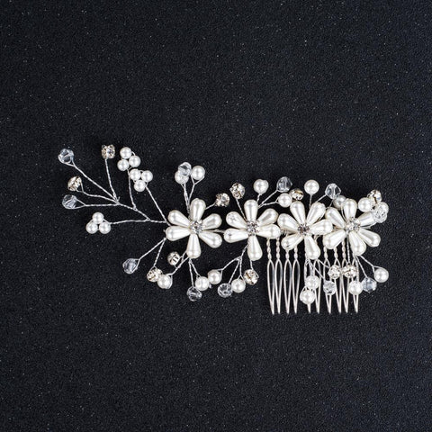 Gabriella Hair Comb - Delicate Crystal Floral Silver Hair Vine Headpiece-Hair Jewellery Decorative Comb Bridal Wedding Party Hairstyle Accessory-HC2126-The Style Diva - India
