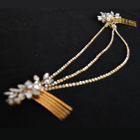 Genevieve Headpiece - Delicate Floral Golden Headpiece with Chains-Decorative Headpiece Hair Jewellery Bridal Wedding Party Hairstyle Accessory-HC13-The Style Diva - India