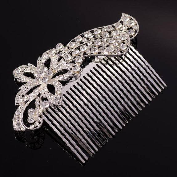Irene Hair Comb - Delicate Crystal Floral Silver Headpiece-Hair Jewellery Decorative Comb Bridal Wedding Party Hairstyle Accessory-HC2127-The Style Diva - India