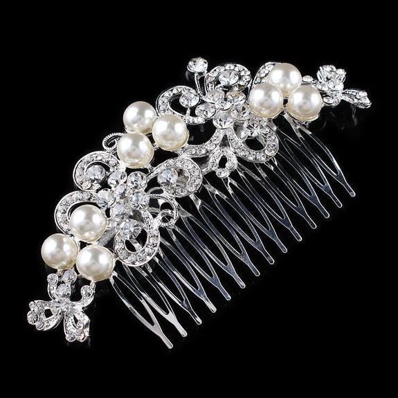 Isabella Hair Comb - Delicate Crystal Floral Silver Headpiece-Hair Jewellery Decorative Comb Bridal Wedding Party Hairstyle Accessory-HC2074-The Style Diva - India