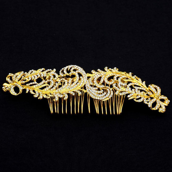 Josephine Hair Comb - Delicate Crystal Floral Golden Headpiece-Hair Jewellery Decorative Comb Bridal Wedding Party Hairstyle Accessory-HC2090-The Style Diva - India