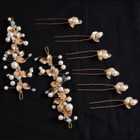 Julianna Headpiece Set - Delicate Floral Golden Hair Vines Set-Decorative Headpiece Hair Jewellery Bridal Wedding Party Hairstyle Accessory-HC15-The Style Diva - India