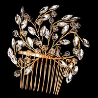 Lillian Hair Comb - Delicate Crystal Floral Gold Headpiece-Hair Jewellery Decorative Comb Bridal Wedding Party Hairstyle Accessory-HC2017-The Style Diva - India