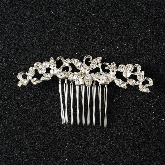 Lorelai Hair Comb - Delicate Crystal Floral Silver Headpiece-Hair Jewellery Decorative Comb Bridal Wedding Party Hairstyle Accessory-HC2124-The Style Diva - India
